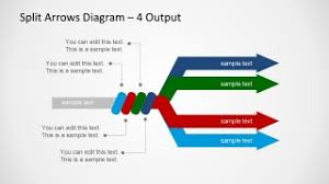 split arrows diagram template for powerpoint   slidemodelsplit arrows diagram template for powerpoint is a presentation design containing a simple but useful split diagram   a single input and multiple outputs