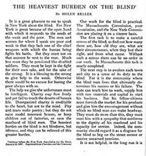 outlook for the blind   american foundation for the blind a portion of helen kellers essay entitled quotthe heaviest burden on the blindquot