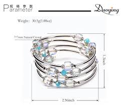 <b>2019</b> NEW Natural Square Crystal Multi ring Winding Bracelet ...