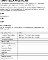 transition plan template pdf complete the transition on schedule goals assumptions risks other team list