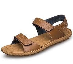 Men Shoes <b>Genuine</b> Leather Handmade <b>Velcro</b> Sandals Beach ...