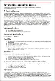 private housekeeper cv sample   curriculum vitae builderprivate housekeeper cv sample