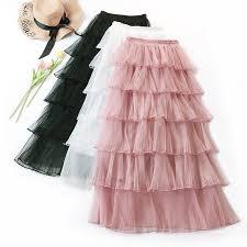 Pleated Mesh Skirt Casual <b>High</b> Waist <b>Long Tulle Skirt</b> Ruffles ...