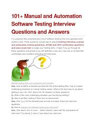 manual and automation software testing interview questions and 101 manual and automation software testing interview questions and answers software testing software bug