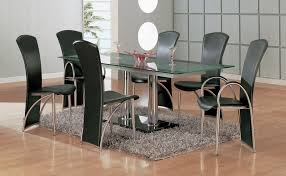 Tall Dining Room Table Chairs Furniture Luxury Rectangle Glass Dining Table With Double Chrome