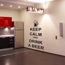 Kitchen Character Wall Sticker <b>Keep Calm</b> And Drink A Beer Wall ...