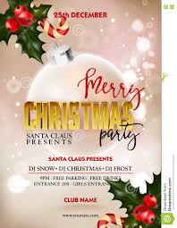 merry christmas party poster design template decoration ball merry christmas party poster design template decoration ball and holly berry