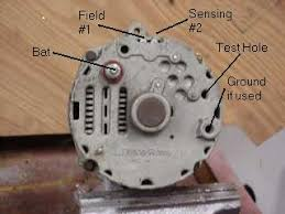 onewirealternator the alternator pivot bolt usually provides ground the test hole is used to bypass the regulator for testing see below for procedure