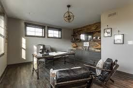 vintage industrial home office with jute rope chandelier chandelier barn board