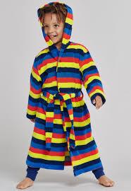 Bathrobe <b>unisex</b> light terry cloth stripes <b>rainbow</b> multicoloured ...