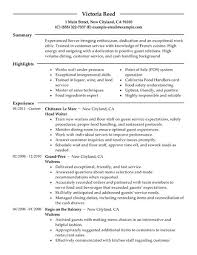 banquet server sample resume  seangarrette cobanquet