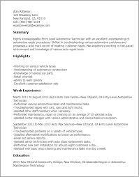 resume templates entry level automotive technician sample automotive technician resume