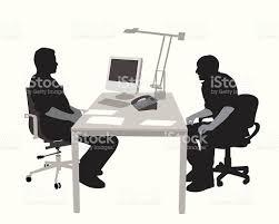 job interview vector silhouette stock vector art istock computer desk desktop pc discussion focus on shadow job interview