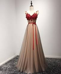 Cute burgundy lace appliques long V neck handmade prom dress ...