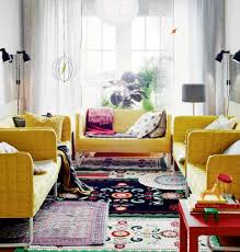 space living ideas ikea:  interiorikea summer house living room furniture with lovely yelllow sofas and beautiful curtain for elegant living interiorikea small space