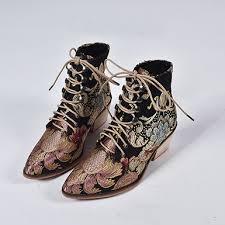 WMNS Floral Metallic <b>Print Lace Up</b> Boot - Gold
