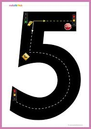 <b>Road</b> numbers math training game / <b>Tracing</b> number <b>5</b> pre-k free ...