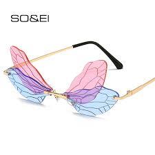 SO&EI Fashion Rimless Dragonfly Wing <b>Sunglasses Women</b> ...