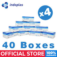 Indoplas Disposable <b>Face Mask 3</b>-Ply with Earloop 40 boxes (<b>2000</b> ...