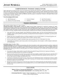 example training consultant resume   free sample