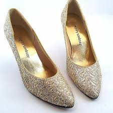 Womens Jacques Levin <b>Sexy Gold Glitter</b> Sparkle Shoes Sz 9 High ...