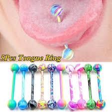 <b>5Pcs</b>/<b>lot Mixed Color</b> Straight Barbell <b>Tongue</b> Piercing <b>Tongue</b> ...