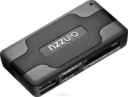 <b>Картридер</b> <AII in 1> USB 2.0 <b>Ginzzu GR</b>-<b>417UB</b> + HUB 3 port, <b>Black</b>