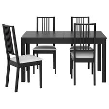 black kitchen dining sets: awesome black color dining table interior design featuring black varnished wooden dining chair with white fabric seat also black varnished wooden simple
