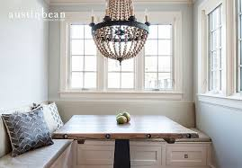 breakfast nook with built in banquette and pottery barn elena wood bead chandelier barn board