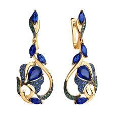 <b>Серьги</b> из золота с синими корунд (синт.) и фианитами ...