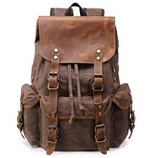 m103 new vintage backpack leather canvas men school bag military women rucksack male knapsack bagpack mochila