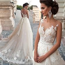 <b>Thinyfull</b> 2019 Sheer Illusion Champagne Wedding Dresses Lace ...