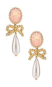 For Love & Lemons <b>Cameo Pearl</b> Drop Earrings in <b>Vintage</b> Gold ...
