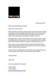thegayuk letter of support gay games london bid