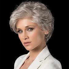 Human Hair Wig Short <b>Curly</b> Natural Wave Pixie Cut With Bangs ...
