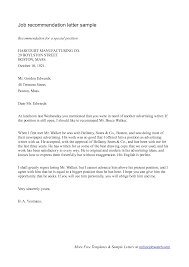 work letter of recommendation sample recommendation letter  letter