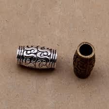 <b>10pcs</b>/lot 11x5mm Long Textured Tube <b>Beads</b> Antique Silver Big ...