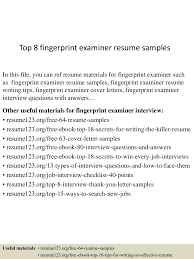 title examiner resume cipanewsletter top8fingerprintexaminerresumesamples 150530085810 lva1 app6892 thumbnail 4 jpg cb u003d1432976336 from slideshare net