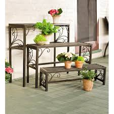 Plow & Hearth Rectangle <b>3</b> Piece <b>Plant Stand Set</b> & Reviews | Wayfair
