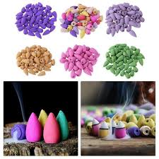 20PCS <b>Floral Incense Cone</b> With Tray <b>Colorful</b> Fragrance Scent ...