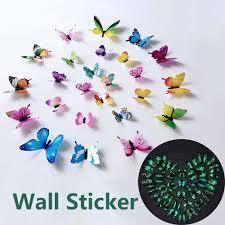 <b>12 Pcs/set Luminous</b> Butterfly Wall Sticker Living Room Decor for ...