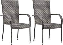 Festnight <b>Stackable Garden Chairs</b> Breakfast Dining Chairs Garden ...