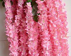 "3Head/Branch Wisteria <b>Flower</b> 70"" <b>Purple</b> Silk Wisteria Hanging ..."