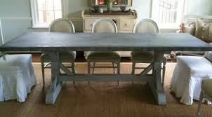 images zinc table top: love the painted reclaimed cypress wood base