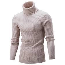 Oeak <b>Winter Warm Turtleneck Sweater</b> Men Fashion Solid Knitted ...