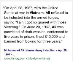 「Muhammad Ali refuses to join the US Army in Vietcong.」の画像検索結果