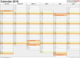 calendar 2016 uk 16 printable word templates template 4 yearly calendar 2016 as word template landscape orientation a4 2