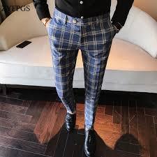 <b>2019 ZYFPGS</b> Classic Vintage Check Suit Trousers Wedding Pants ...