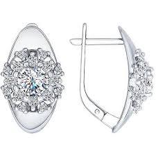 <b>Серьги с 34 кристаллами</b> swarovski из серебра, классика (без ...