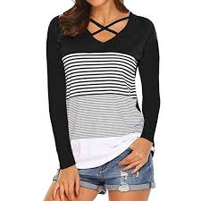 Women's Blouse Stripe Printed Long Sleeve V Neck Cross <b>Bandage</b> ...